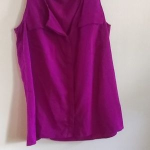 A.N.A Fushia Button Down Sleeveless Blouse